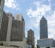 Atlanta Marriot and Hilton. Image of the Atlanta Marriot and Hilton hotels on a clear day Royalty Free Stock Photography