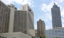 Atlanta Marriot and Hilton 2. Image of the Atlanta Marriot and Hilton hotels on a clear day Stock Photos