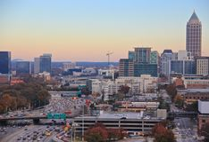 Atlanta Midtownhuvudväg, USA Fotografering för Bildbyråer