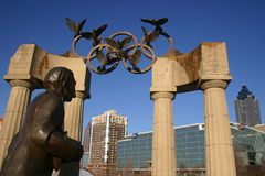 Atlanta Olympic sculpture in Centennial Park. ATLANTA, GA - SEP 14: The Olympic rings remain prominent in Centennial Olympic Park fifteen years after Atlanta Stock Photography