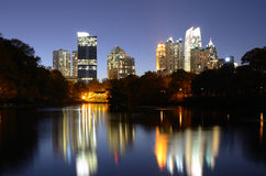 Atlanta From Piedmont Park. Skyline and reflections of midtown Atlanta, Georgia in Lake Meer from Piedmont Park Royalty Free Stock Photo