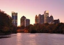 Atlanta From Piedmont Park. Skyline of midtown Atlanta, Georgia from Piedmont Park Royalty Free Stock Image