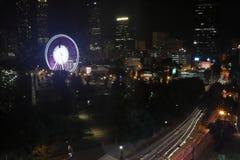 Atlanta-` s hundertjähriger Olympiapark nachts stockbilder