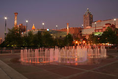 Atlanta's Olympic Park. View of olympic rings water fountain and buildings in downtown Atlanta Stock Images