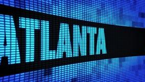 ATLANTA-Seitentext, der LED-Wand-Anzeigetafel-Zeichen-Brett in einer Liste verzeichnet vektor abbildung