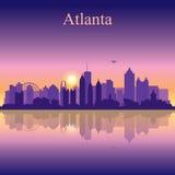 Atlanta silhouette on sunset background Stock Images