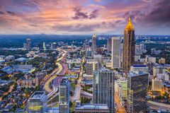 Atlanta Skyine. Atlanta, Georgia downtown aerial view Royalty Free Stock Photos