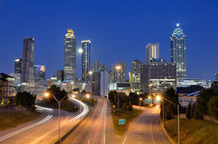 Atlanta Skyline above Freedom Parkway Stock Photo