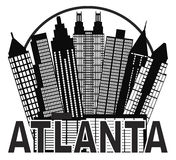 Atlanta Skyline Circle Black and White Vector Illu Royalty Free Stock Images