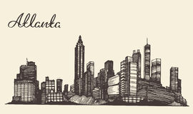Free Atlanta Skyline Engraved Hand Drawn Sketch Royalty Free Stock Images - 57392429