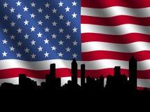 Atlanta skyline with flag Royalty Free Stock Images