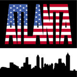 Atlanta skyline with flag text Stock Photography