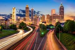 Atlanta Skyline. Atlanta, Georgia, USA downtown city skyline over Freedom Parkway Royalty Free Stock Image