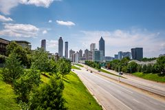 The Atlanta skyline from the Jackson Street Bridge stock photography