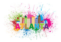 Atlanta Skyline Paint Splatter Colorful Text Illustration Stock Photography