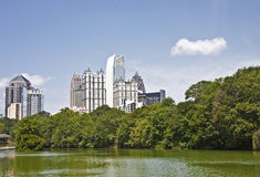 Atlanta Skyline Past Green Lake Royalty Free Stock Photos