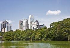 Atlanta Skyline Past Green Lake Royalty Free Stock Photos
