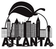 Atlanta Skyline Peach Dogwood Black White Text vector Illustration Royalty Free Stock Image