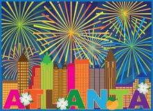 Free Atlanta Skyline Peach Dogwood Fireworks Vector Illustration Stock Photography - 123831182