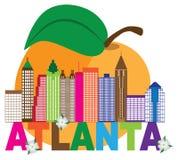 Atlanta-Skyline-Pfirsich-Hartriegel-bunte Text-Illustration Lizenzfreies Stockbild