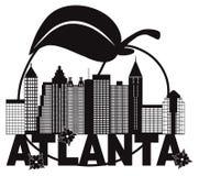 Atlanta-Skyline-Pfirsich-Hartriegel-Schwarz-weiße Text-Vektor Illustration Lizenzfreies Stockbild