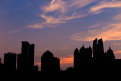 Atlanta  Skyline from Piedmont Park's Lake Meer. Royalty Free Stock Photo