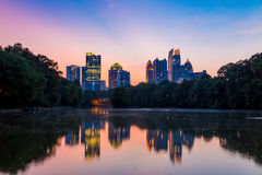 Atlanta  Skyline from Piedmont Park's Lake Meer. Stock Photo