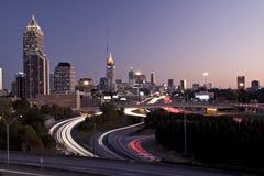 Atlanta-Skyline am Sonnenuntergang Stockfotos
