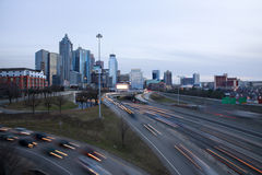 Atlanta skyline with traffic Stock Photography