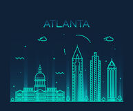 Atlanta skyline trendy vector illustration linear Royalty Free Stock Images