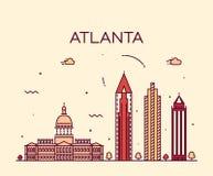 Atlanta skyline trendy vector illustration linear Royalty Free Stock Images