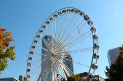The Atlanta Skyview Ferris wheel with Atlanta Skyline Stock Photo