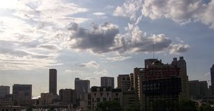 Atlanta Sun. Image of clouds over a downtown Atlanta, Georgia Stock Images