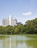 Atlanta towers and Cloud Past Green Lake Stock Photography