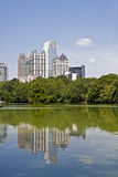 Atlanta Towers Reflected in Blue Lake Stock Photo