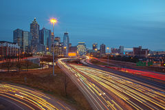 Atlanta traffic and skyline at sunrise sunset Stock Photos