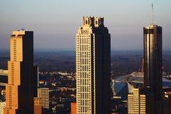Atlanta Triple. Atlanta& x27;s famous southern buildings illuminated by the sunrise Royalty Free Stock Photos