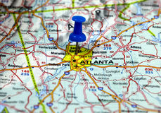Atlanta in usa. Map with pin point of atlanta in usa Royalty Free Stock Photo