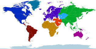 Atlante dei continenti colorati royalty illustrazione gratis