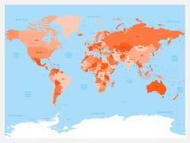 Atlante della mappa di mondo Il rosso ha colorato la mappa politica con i mari e gli oceani blu Illustrazione di vettore Immagini Stock Libere da Diritti