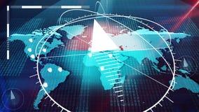 Atlante di Internet del mondo con le bussole, orologi, pezzi Immagine Stock