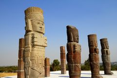 Atlantes VII. Atlantes de Tula are giant stone sculptures, located over the top of the Pyramid of the Morning Star. City of tula, mexican state of hidalgo Stock Photography