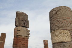 Atlantes XI. Atlantes de Tula are giant stone sculptures, located over the top of the Pyramid of the Morning Star. City of tula, mexican state of hidalgo Stock Image