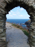 Atlantic archway. Old stone castle archway with view of Atlantic ocean stock photography