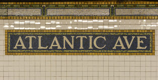 Atlantic Avenue Subway Sign, Brooklyn, New York Stock Photos