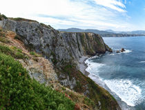 Atlantic beach with cliffs Royalty Free Stock Images
