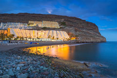 Atlantic beach of Gran Canaria island in Taurito at dusk Stock Photo
