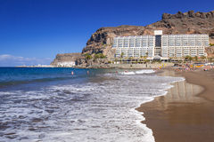 Atlantic beach of Gran Canaria island in Taurito. Spain Stock Images