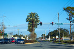 Atlantic Beach in Jacksonville of florida USA. Traffic and palm trees road Stock Photo