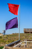 Atlantic Beach Warning Flags. Beach warning hazard flags with red flags indicating water is closed to public and purple indicating dangerous marine life are royalty free stock photography